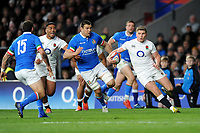 Owen Farrell of England  looks for space during the Guinness Six Nations match between England and Italy at Twickenham Stadium on Saturday 9th March 2019 (Photo by Rob Munro/Stewart Communications)