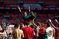 29th May 2021; Wembley Stadium, London, England; English Football League Championship Football, Playoff Final, Brentford FC versus Swansea City; Brentford players list Brentford Manager Thomas Frank in the air in celebration after the teams 2-0 win