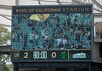 LOS ANGELES, CA - APRIL 17: The score board during a game between Austin FC and Los Angeles FC at Banc of California Stadium on April 17, 2021 in Los Angeles, California.