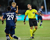 LAKE BUENA VISTA, FL - JULY 26: Referee Alex Chillowicz has a laugh with Anton Tinnerholm of New York City FC during a game between New York City FC and Toronto FC at ESPN Wide World of Sports on July 26, 2020 in Lake Buena Vista, Florida.
