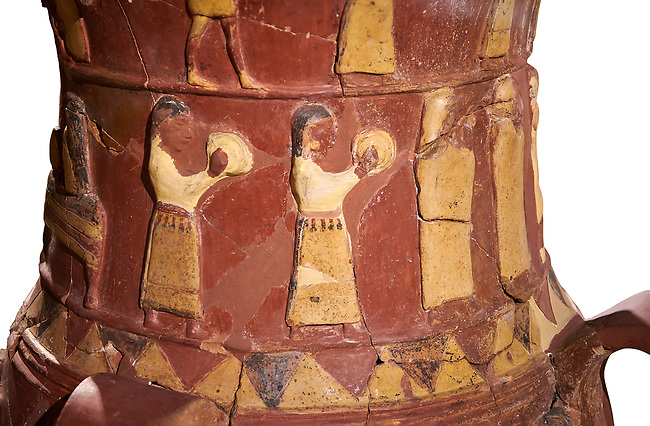 Close up of the Inandik Hittite relief decorated cult libation vase decorated with women relief figures coloured in cream, red and black playing instruments, mid to late 16th century BC - İnandıktepe, Turkey. Against a white background