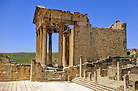 Tunisia, Dougga.  Roman Ruins.  The Capitol.  166 A.D.  The side shows the construction style known as opus africanus, in which large vertical stones are used to strengthen walls built of much smaller stones.