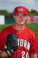 Auburn Doubledays pitcher Matthew Crownover (20) poses for a photo before a game against the Batavia Muckdogs on September 7, 2015 at Falcon Park in Auburn, New York.  Auburn defeated Batavia 11-10 in ten innings.  (Mike Janes/Four Seam Images)