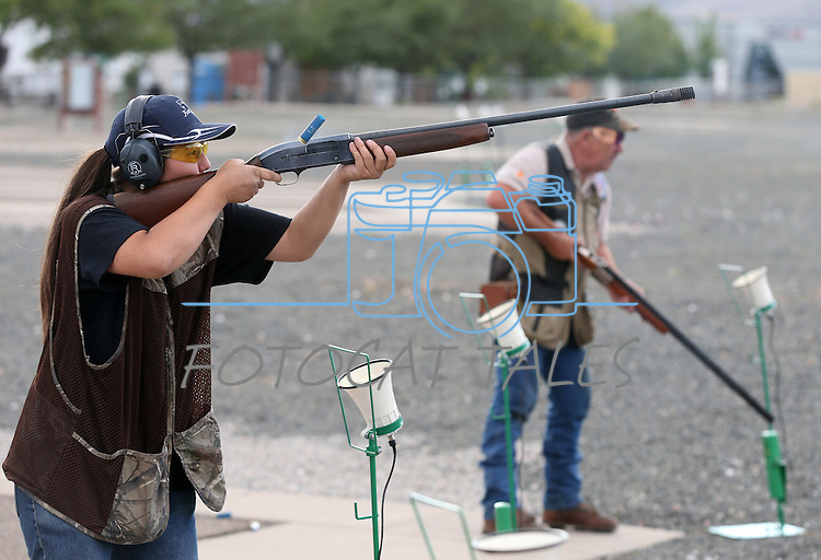 Kristin McKown, 19, practices at the Capital City Gun Club, in Carson City, Nev., on Friday, July 11, 2014.<br /> Photo by Cathleen Allison