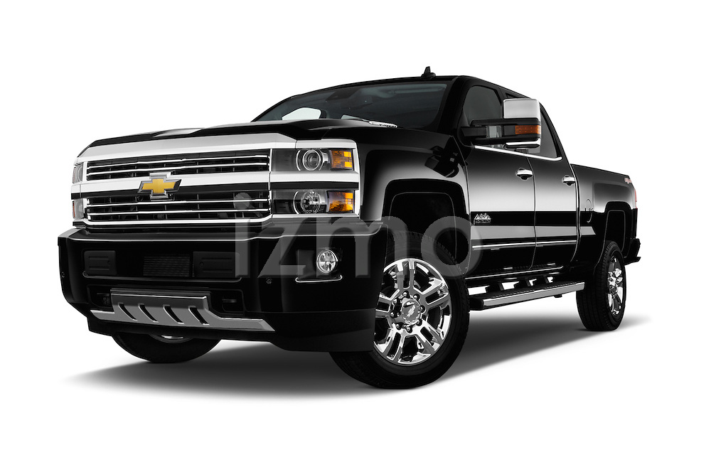 Stock pictures of low aggressive front three quarter view of 2016 Chevrolet Silverado 2500Hd High Country 4 Door Pick Up Low Aggressive