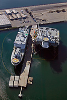 aerial photograph Sea Launch Commander and the Odyssey Launch Platform docked at the Port of Long Beach, Long Beach, Los Angeles County, California