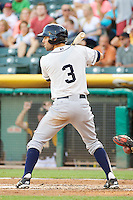 Chris Taylor (3) of the Tacoma Rainiers at bat against the Salt Lake Bees in Pacific Coast League action at Smith's Ballpark on July 8, 2014 in Salt Lake City, Utah.  (Stephen Smith/Four Seam Images)