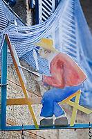 Europe/France/Bretagne/29/Finistère/ Concarneau: Détail enseigne de l'atelier d'un peintre