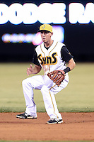 Jacksonville Suns second baseman Austin Barnes (16) fields a ground ball for the final out of game three of the Southern League Championship Series against the Chattanooga Lookouts on September 12, 2014 at Bragan Field in Jacksonville, Florida.  Jacksonville defeated Chattanooga 6-1 to sweep three games to none.  (Mike Janes/Four Seam Images)