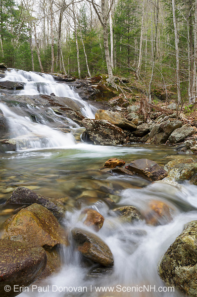 Stark Falls in Woodstock, New Hampshire during the spring months. These falls are located along Stark Falls Brook in Kinsman Notch.