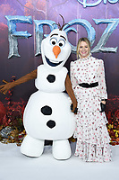 """Edith Bowman and Olaf<br /> arriving for the """"Frozen 2"""" premiere at the BFI South Bank, London.<br /> <br /> ©Ash Knotek  D3537 17/11/2019"""