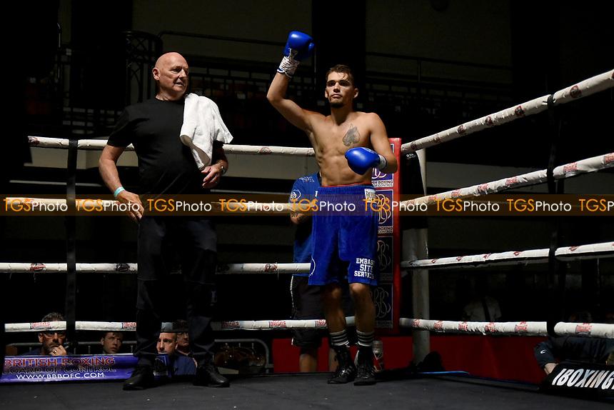 Denis Denikajev (blue shorts) defeats Matar Sambou during a Boxing Show at York Hall on 11th September 2021