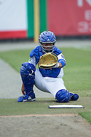 Burlington Royals catcher Yordany Salva (13) warms up a pitcher in the bullpen during the game against the Bluefield Blue Jays at Burlington Athletic Stadium on June 27, 2016 in Burlington, North Carolina.  The Royals defeated the Blue Jays 9-4.  (Brian Westerholt/Four Seam Images)