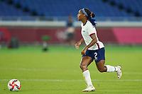 YOKOHAMA, JAPAN - JULY 30: Crystal Dunn #2 of the United States goes forward during a game between Netherlands and USWNT at International Stadium Yokohama on July 30, 2021 in Yokohama, Japan.