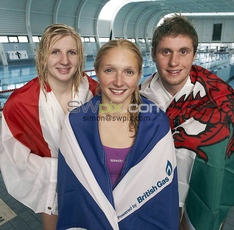 PICTURE BY Ben Duffy/SWpix.com. British Gas Swimming portrait session at Loughborough. 19/06/2009..copyright picture>>simon wilkinson>>07811 267 706>>.Pictured ahead of the Scottish Swimming Championships 2009 and heading for Glasgow are Scotlands Caitlin McClatchey, Englands Rebecca Beccy Adlington and Wales David Davies