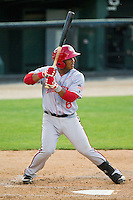Khayyan Norfork (6) of the Hagerstown Suns at bat against the Kannapolis Intimidators at CMC-Northeast Stadium on May 17, 2013 in Kannapolis, North Carolina.  The Suns defeated the Intimidators 9-7.   (Brian Westerholt/Four Seam Images)