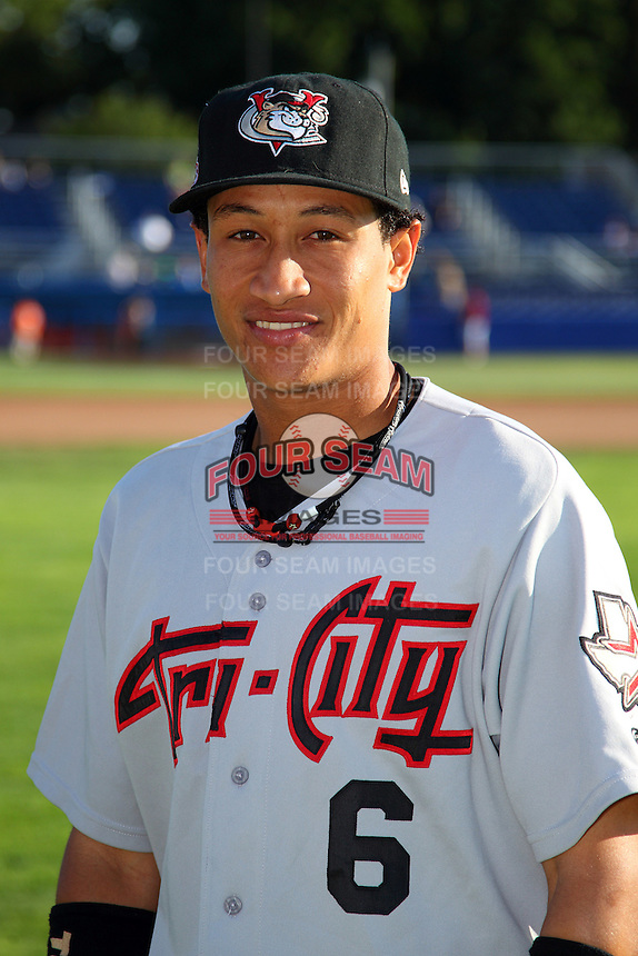 Tri-City ValleyCats shortstop Hector Rodriguez #6 poses for a photo before a game against the Batavia Muckdogs at Dwyer Stadium on July 15, 2011 in Batavia, New York.  Batavia defeated Tri-City 4-3.  (Mike Janes/Four Seam Images)