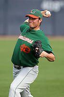 """Miami Hurricanes Zach Robinson #48 during a game vs. the University of South Florida Bulls in the """"Florida Four"""" at George M. Steinbrenner Field in Tampa, Florida;  March 1, 2011.  USF defeated Miami 4-2.  Photo By Mike Janes/Four Seam Images"""