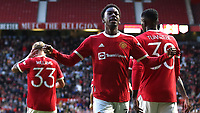 Anthony Elanga celebrates scoring Manchester United's opening goal during Manchester United vs Brentford, Friendly Match Football at Old Trafford on 28th July 2021