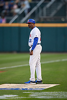 Buffalo Bisons coach Devon White (22) during an International League game against the Rochester Red Wings on August 26, 2019 at Sahlen Field in Buffalo, New York.  Buffalo defeated Rochester 5-4.  (Mike Janes/Four Seam Images)