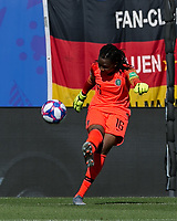 GRENOBLE, FRANCE - JUNE 22: Chiamaka Nnadozie #16 of the Nigerian National Team goal kick during a game between Nigeria and Germany at Stade des Alpes on June 22, 2019 in Grenoble, France.