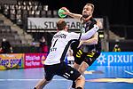 Julius Kuehn (Deutschland #35) ; Martin Johannson (Estland #11) ; EHF EURO-Qualifikation / EM-Qualifikation / Handball-Laenderspiel: Deutschland - Estland am 02.05.2021 in Stuttgart (PORSCHE Arena), Baden-Wuerttemberg, Deutschland.<br /> <br /> Foto © PIX-Sportfotos *** Foto ist honorarpflichtig! *** Auf Anfrage in hoeherer Qualitaet/Aufloesung. Belegexemplar erbeten. Veroeffentlichung ausschliesslich fuer journalistisch-publizistische Zwecke. For editorial use only.