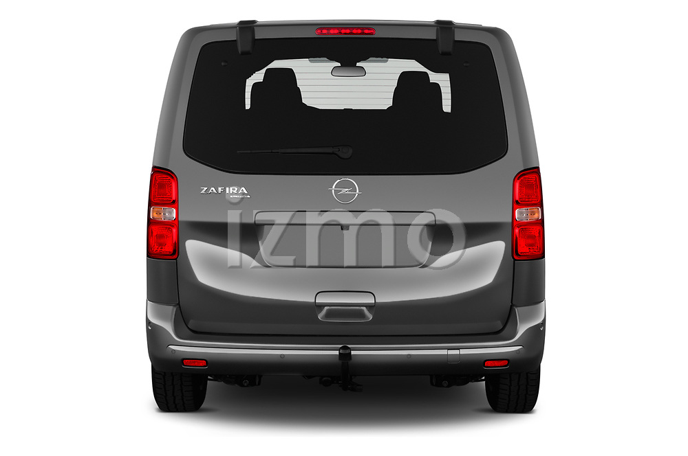 Straight rear view of a 2020 Opel Zafira-Life Business-Innovation 5 Door Mini Van stock images