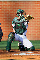 Charlotte 49ers catcher Ross Steedley #40 appeals to the first base umpire during their game against the Missouri Tigers at Robert and Mariam Hayes Stadium on February 25, 2011 in Charlotte, North Carolina.  Photo by Brian Westerholt / Four Seam Images