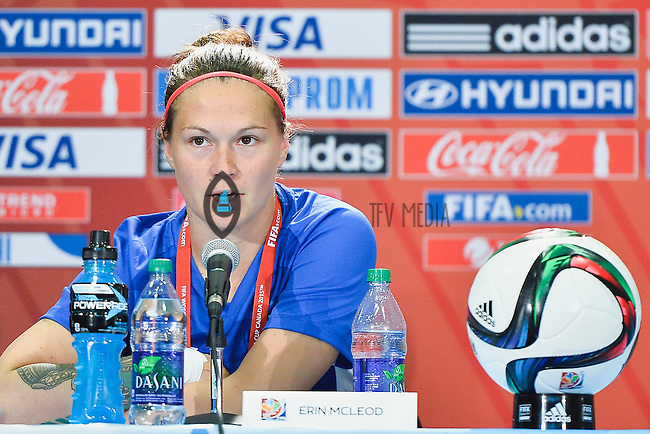 Canada's Erin McLeod speaks to the media during press conference on the eve of Women's World Cup Soccer match, Thursday June 04, 2015 in Edmonton, Alberta. (Mo Khursheed/TFV Media via AP Images)