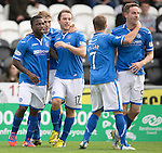 St Mirren v St Johnstone...19.10.13      SPFL<br /> Steven MacLean and Nigel Hasselbaink celebrates the equaliser<br /> Picture by Graeme Hart.<br /> Copyright Perthshire Picture Agency<br /> Tel: 01738 623350  Mobile: 07990 594431
