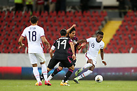 GUADALAJARA, MEXICO - MARCH 24: Andres Perea #15 of the United States during a game between Mexico and USMNT U-23 at Estadio Jalisco on March 24, 2021 in Guadalajara, Mexico.
