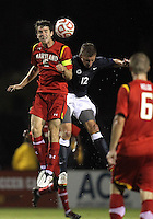COLLEGE PARK, MD. - AUGUST 20, 2012:  Patrick Mullins (15) of  the University of Maryland goes up for a header with Owen Griffith (12) of Penn State during an NCAA match at Ludwig Field, in College Park, Maryland on August 20. The game ended in a 2-2 tie.