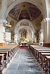 Italy, South Tyrol, Alto Adige, Dolomites, near San Vigilio di Marebbe, Pieve di Marebbe: pilgrimage church - inside, at Valle di Tamores, tributary valley of Val Badia