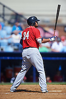 New Hampshire Fisher Cats designated hitter Rowdy Tellez (34) at bat during a game against the Reading Fightin Phils on June 6, 2016 at FirstEnergy Stadium in Reading, Pennsylvania.  Reading defeated New Hampshire 2-1.  (Mike Janes/Four Seam Images)