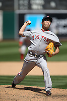 OAKLAND, CA - MAY 13:  Koji Uehara #19 of the Boston Red Sox pitches during the game against the Oakland Athletics at O.co Coliseum on Wednesday, May 13, 2015 in Oakland, California. Photo by Brad Mangin