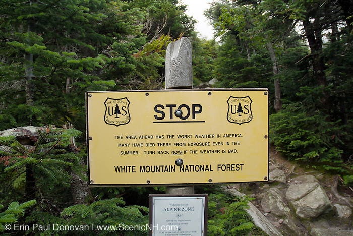 Warning sign at the start of the Alpine Zone along the Air Line Trail in the  Northern Presidential Range of the New Hampshire White Mountains.