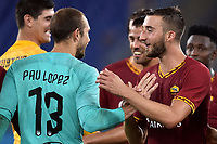 Pau Lopez and Bryan Cristante of AS Roma celebrate the victory after the penalties <br /> Roma 11/08/2019 Stadio Stadio Olimpico Football friendly match pre season 2019/2020 AS Roma - Real Madrid <br /> Mabel Green Cup Trophy <br /> Foto Andrea Staccioli / Insidefoto