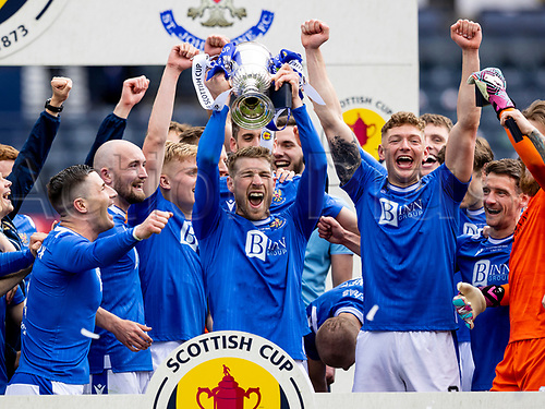 22nd May 2021; Hampden Park, Glasgow, Scotland; Scottish Cup Football Final, St Johnstone versus Hibernian  David Wotherspoon of St Johnstone lifts the Scottish cup   after winning the final by the score of 1-0