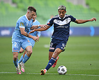 6th June 2021; AAMI Park, Melbourne, Victoria, Australia; A League Football, Melbourne Victory versus Melbourne City; Ben Folami of the Victory tries to move the ball past Scott Galloway of Melbourne City