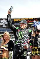 Mar. 19, 2011; Chandler, AZ, USA;  LOORRS pro four driver Rick Huseman Celebrates after winning round one at Firebird International Raceway. Mandatory Credit: Mark J. Rebilas-US PRESSWIRE