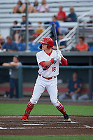 Auburn Doubledays Jake Randa (16) at bat during a NY-Penn League game against the Connecticut Tigers on July 12, 2019 at Falcon Park in Auburn, New York.  Auburn defeated Connecticut 7-5.  (Mike Janes/Four Seam Images)