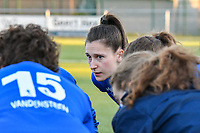 Gwen Duijsters (13) of KRC Genk pictured during the huddle before a female soccer game between  Racing Genk Ladies and Eendracht Aalst on the 5 th matchday of play off 2 in the 2020 - 2021 season of Belgian Scooore Womens Super League , friday 7 th of May 2021  in Genk , Belgium . PHOTO SPORTPIX.BE | SPP | JILL DELSAUX