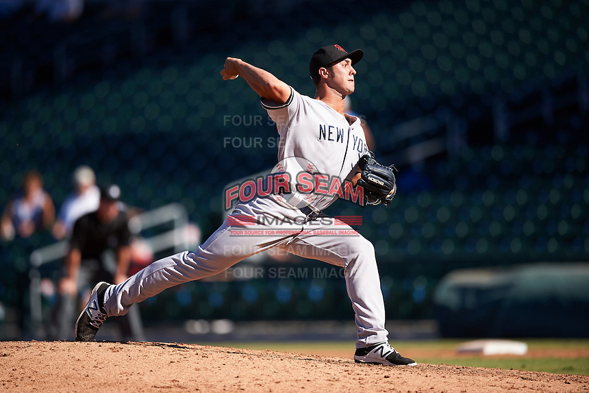 Scottsdale Scorpions pitcher J.P. Feyereisen (43), of the New York Yankees organization, during a game against the Mesa Solar Sox on October 18, 2016 at Sloan Park in Mesa, Arizona.  Mesa defeated Scottsdale 6-3.  (Mike Janes/Four Seam Images)