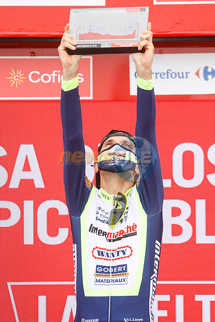 Rein Taaramäe (EST) Intermarché-Wanty-Gobert Matériaux from the breakaway wins Stage 3 of La Vuelta d'Espana 2021, running 202.8km from Santo Domingo de Silos to Picon Blanco, Spain. 16th August 2021.    <br /> Picture: Luis Angel Gomez/Photogomezsport | Cyclefile<br /> <br /> All photos usage must carry mandatory copyright credit (© Cyclefile | Luis Angel Gomez/Photogomezsport)