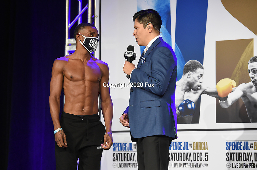 DALLAS, TX - DECEMBER 4: Errol Spence Jr. is interviewed by Ray Flores at the weigh-in for the Errol Spence Jr. vs Danny Garcia December 5, 2020 Fox Sports PBC Pay-Per-View fight night at AT&T Stadium in Arlington, Texas. (Photo by Frank Micelotta/Fox Sports)