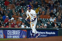 Saul Garza (13) of the LSU Tigers reacts after hitting a triple against the Texas Longhorns in game three of the 2020 Shriners Hospitals for Children College Classic at Minute Maid Park on February 28, 2020 in Houston, Texas. The Tigers defeated the Longhorns 4-3. (Brian Westerholt/Four Seam Images)