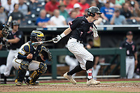 Texas Tech Red Raiders designated hitter Cody Masters (7) follows through on his swing during Game 1 of the NCAA College World Series against the Michigan Wolverines on June 15, 2019 at TD Ameritrade Park in Omaha, Nebraska. Michigan defeated Texas Tech 5-3. (Andrew Woolley/Four Seam Images)