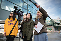 UAA Journalism and Public Communication student Malia Barto records video as she, Moriah Miller, right, and other classmates report on a story for an assignment in Professor Joy Mapaye's Television News Reporting course (JPC A344).