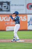 Ogden Raptors third baseman Kenneth Betancourt (9) celebrates after hitting a double during a Pioneer League game against the Billings Mustangs at Lindquist Field on August 17, 2018 in Ogden, Utah. The Billings Mustangs defeated the Ogden Raptors by a score of 6-3. (Zachary Lucy/Four Seam Images)