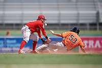 Boston Red Sox second baseman Esteban Quiroz (79) tries to apply a tag to Andrew Jayne (53) as he slides into the base during a Florida Instructional League game against the Baltimore Orioles on September 21, 2018 at JetBlue Park in Fort Myers, Florida.  (Mike Janes/Four Seam Images)